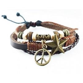 Оригинальный кожаный браслет Мир без войны