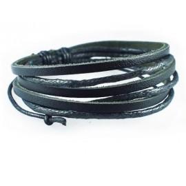 Веревочный кожаный браслет Робинзон Крузо черный