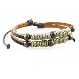 Кожаный плетеный браслет Бьянка коричневый
