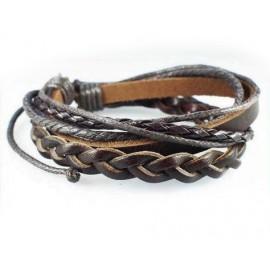 Кожаный плетеный браслет Козырный Туз коричневый