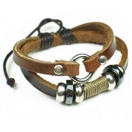 Кожаный браслет Сила коричневый