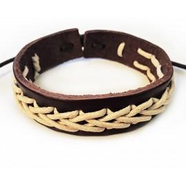 Кожаный плетеный браслет Город Чудес