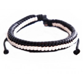 Кожаный плетеный браслет Эквилибриум черный с белым