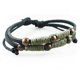 Кожаный плетеный браслет Бьянка черный