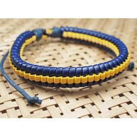 Кожаный плетеный браслет Эквилибриум синий с желтым
