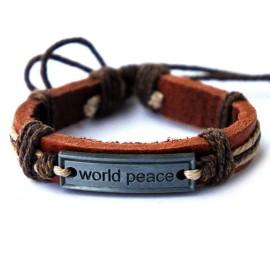 Кожаный плетеный браслет Мир во всем мире