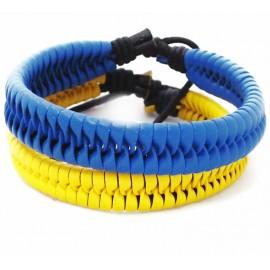 Кожаный плетеный патриотический комплект браслетов Украина