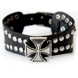Кожаный широкий премиум браслет Крестоносец черный