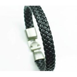Кожаный плетеный премиум браслет Черника черный