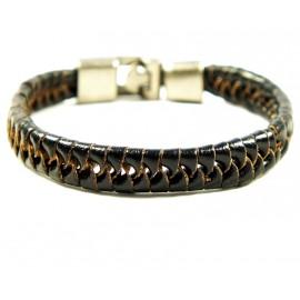 Кожаный плетеный премиум браслет Ришелье темно-коричневый