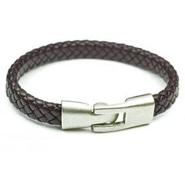 Кожаный плетеный премиум браслет Черника коричневый