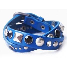 Кожаный оригинальный премиум браслет Рок-н-ролл синий
