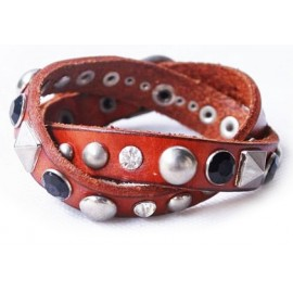 Кожаный оригинальный премиум браслет Рок-н-ролл коричневый