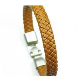 Кожаный плетеный премиум браслет Черника бежевый