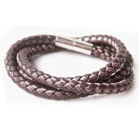 Кожаный плетеный премиум браслет Колизей коричневый на магнитной защелке