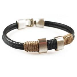 Кожаный плетеный премиум браслет Барон черный