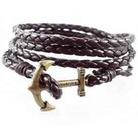 Кожаный плетеный премиум браслет Якорь Kiel James Patrick темно-коричневый