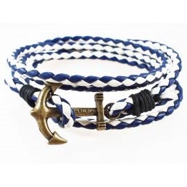 Кожаный плетеный яркий премиум браслет Якорь Kiel James Patrick морской