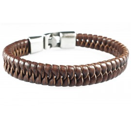 Кожаный плетеный премиум браслет Ришелье коричневый