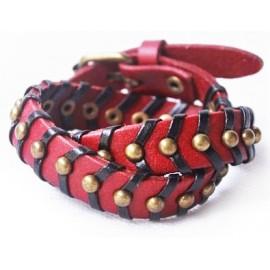 Кожаный оригинальный премиум браслет Фрейд красный