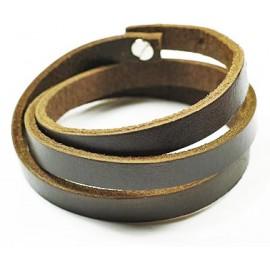 Кожаный премиум браслет Минимализм коричневый