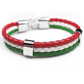 Кожаный плетеный яркий премиум браслет Италия
