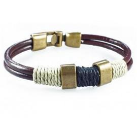 Кожаный плетеный премиум браслет Барон коричневый