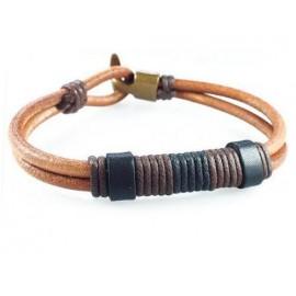 Кожаный плетеный премиум браслет Остров Сокровищ коричневый