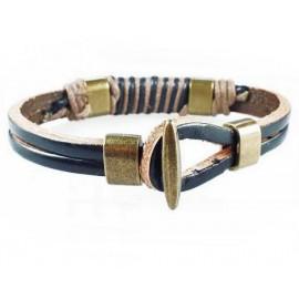 Кожаный плетеный премиум браслет Винтаж черный с коричневым