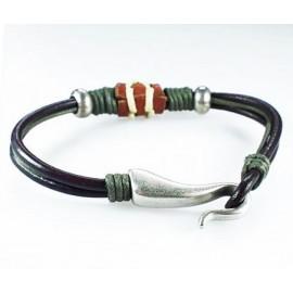 Кожаный плетеный премиум браслет Амулет Везение