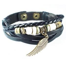 Кожаный плетеный премиум браслет Крыло Ангела черный