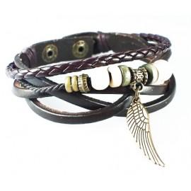 Кожаный плетеный премиум браслет Крыло Ангела коричневый