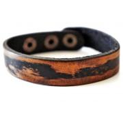 Кожаный премиум браслет Милан черный с коричневым