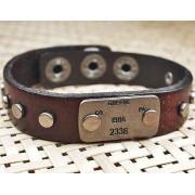 Кожаный премиум браслет Милитари коричневый
