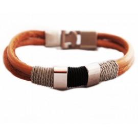 Кожаный плетеный премиум браслет Барон рыжий