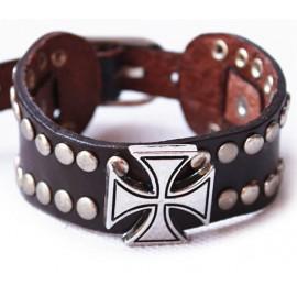 Кожаный широкий премиум браслет Крестоносец коричневый