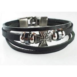 Кожаный оригинальный премиум браслет Крест Рыцаря