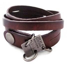 Кожаный премиум браслет Техас коричневый
