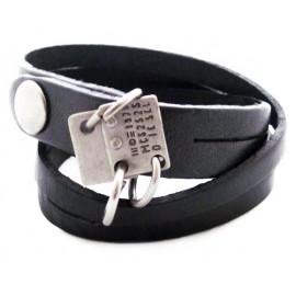 Кожаный премиум браслет Техас черный