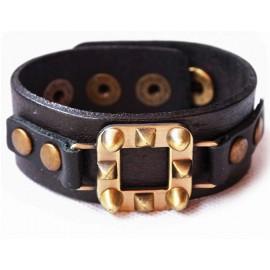 Кожаный широкий премиум браслет Король Артур черный
