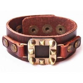 Кожаный широкий премиум браслет Король Артур коричневый