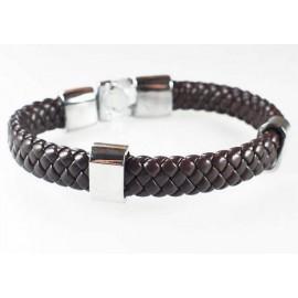 Кожаный плетеный премиум браслет Чикаго коричневый