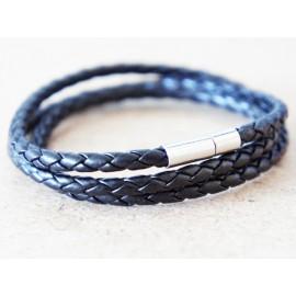 Кожаный плетеный премиум браслет Питон черный на магнитной защелке