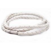 Кожаный плетеный премиум браслет Питон белый на магнитной защелке