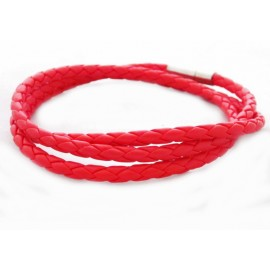 Кожаный плетеный премиум браслет Питон красный на магнитной защелке