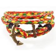 Кожаный плетеный яркий премиум браслет Якорь Kiel James Patrick Регги