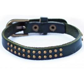 Кожаный оригинальный премиум браслет Лас-Вегас темно-зеленый