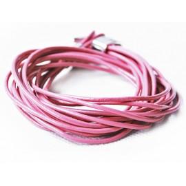 Кожаный веревочный яркий премиум браслет розовый