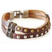 Кожаный оригинальный премиум браслет Король Ричард коричневый