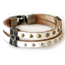 Кожаный оригинальный премиум браслет Король Ричард белый